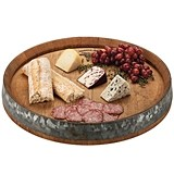 Rustic Farmhouse Collection Oak Wine Barrel Lazy Susan Tray by Twine