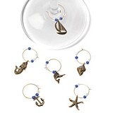 Marina: Burnished-Pewter Sea-Inspired Wine Charms by True (Set of 6)