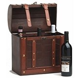 Chateau: 6 Bottle Antique-Look Treasure Chest Wood Wine Box by Twine