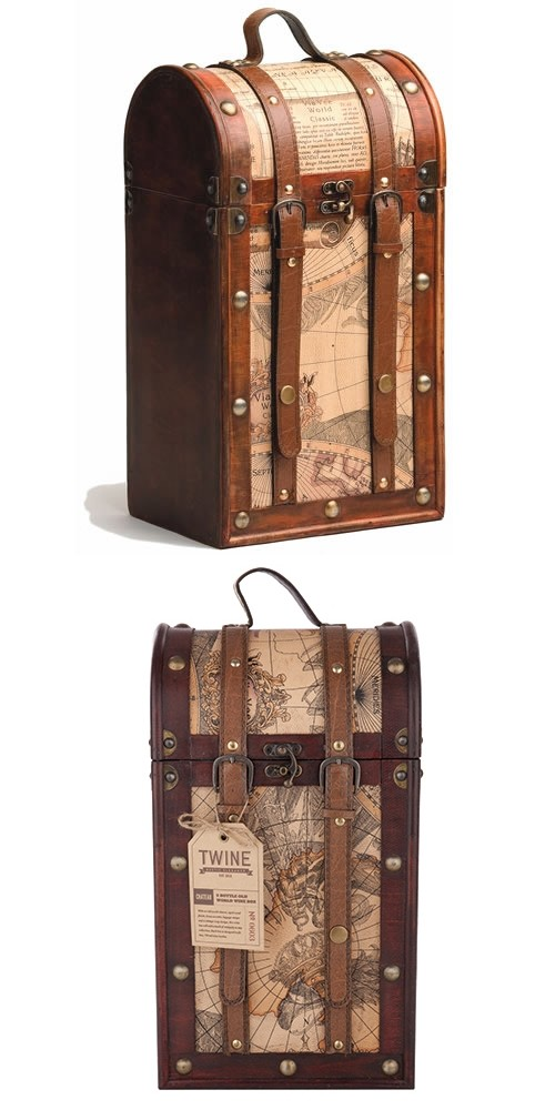Chateau Collection 2 Bottle Old World Map Wooden Wine Box by Twine