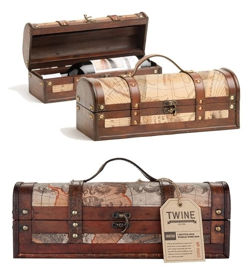 Chateau Collection 1 Bottle Old World Map Wood Wine Box by Twine