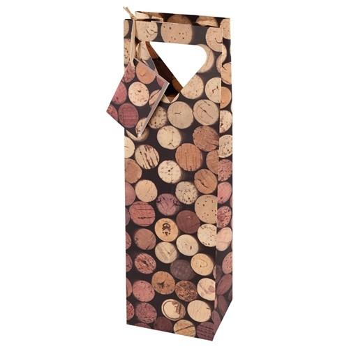 1-Bottle Corks Pattern Wine Bag by Cakewalk by True (Set of 10)