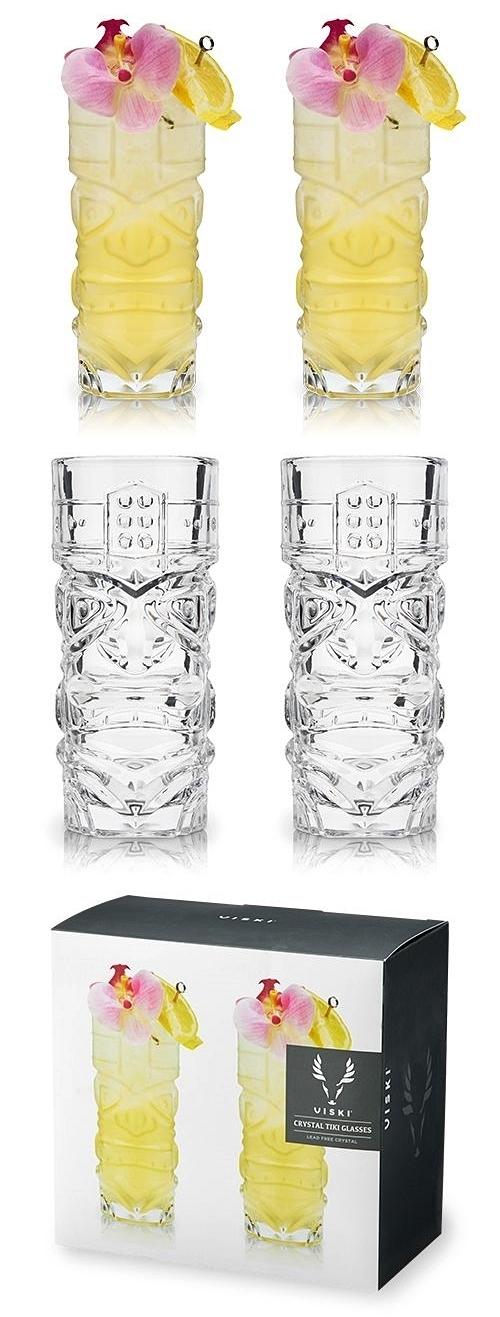 Crystal Tiki Highball Cocktail Glasses by VISKI (Set of 2)