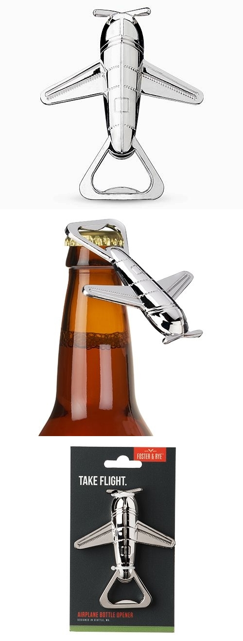 Chrome-Finish Retro-Look Airplane Bottle Opener by Foster & Rye