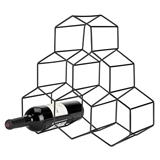 Gunmetal-Plated Geo Hexagon Counter-Top 6-Bottle Wine Rack by VISKI