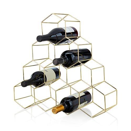 10-Bottle Gold-Plated Geometric Honeycomb Design Wine Rack by VISKI