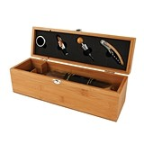 Bottle Box: Bamboo-Wood Wine Accessories Gift Set by True