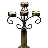 Boulevard 'Vintage & Vine' Black-Finish-Metal Wine Bottle Candelabra