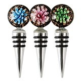 Bouquet Glass Flower Bottle Stopper By Blush (Assorted Colors)