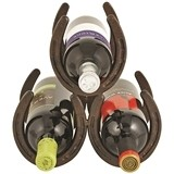 Metal Horseshoe 3-Bottle Wine Rack by Foster & Rye