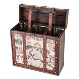 Chateau Collection 3 Bottle Old World Map Wooden Wine Box by Twine