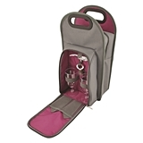 Metropolitan 2-Bottle Wine Tote in Grey with Purple Lining by True