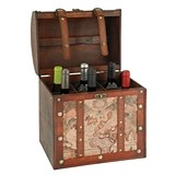 Chateau Collection 6 Bottle Old World Map Wooden Wine Box by Twine
