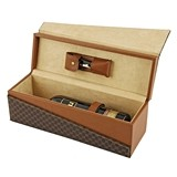 Madison Avenue Faux-Leather Bottle Box with Truetap Corkscrew by True