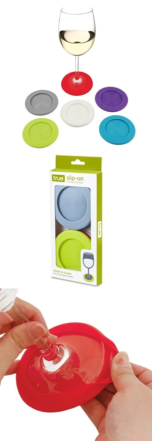 Slip-On: Colorful Silicone Coaster-Charms by True (Set of 6)