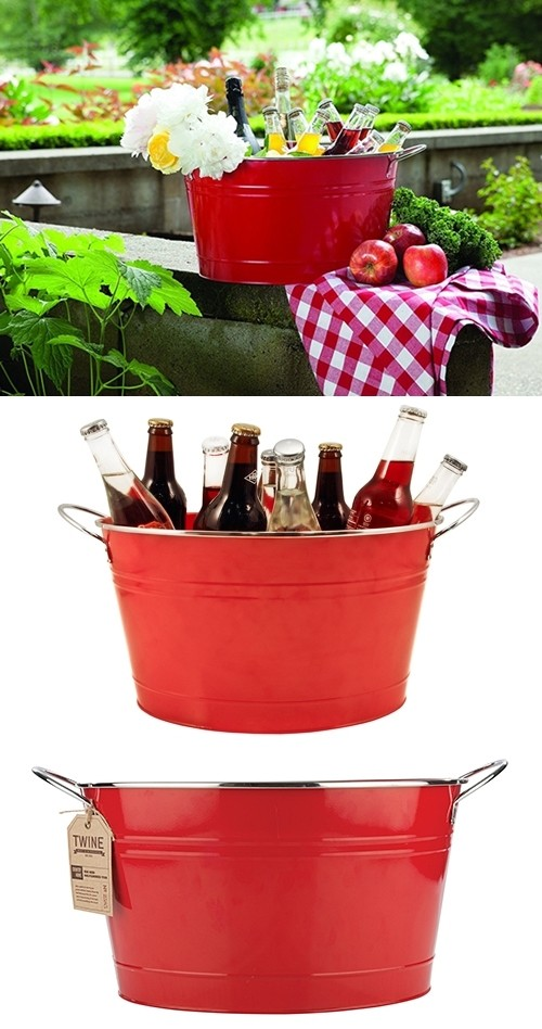 Country Home: Big Red Galvanized Metal Tub by Twine