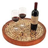 Glass-Topped Rubber-Wood Lazy Susan with Cork Display by True