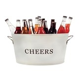 Rustic Farmhouse Collection Galvanized-Tin 'Cheers' Ice Tub by Twine