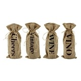 Marketplace: Jute Wine Message Bottle Sacks by Twine (Set of 4)