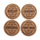 Grapevine: Wine Varietal Cork Coasters (Set of 4)