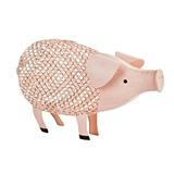 Country Cottage: Distressed Metal Finish Pink Pig Cork Holder