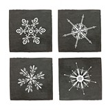 Rustic Holiday Collection Snowflake Slate Coasters by Twine (Set of 4)
