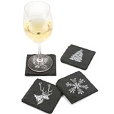 Rustic Holiday Assorted Designs Slate Coasters by Twine (Set of 4)