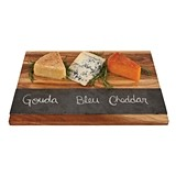 Rustic Farmhouse Collection Acacia-Wood Cheese Board with Slate Inlay