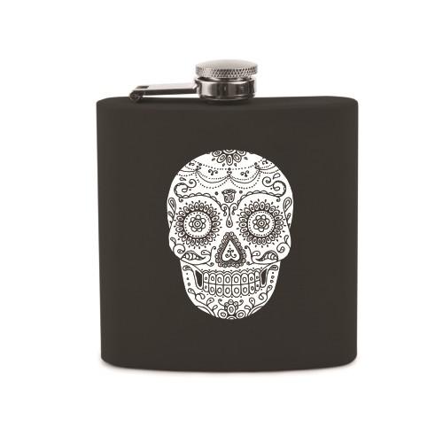 Black Dia De Los Muertos Sugar Skull Design Soft-Touch Flask by True