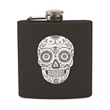 Black Dia De Los Muertos Sugar Skull Design Soft-Touch Flask by True