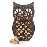 Country Cottage: Weathered-Metal Wise Owl Cork Collector