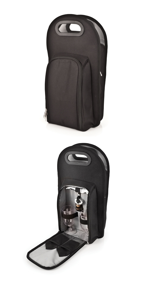 Metro™: Onyx 2-Bottle Wine Service Insulated Tote with Corkscrew