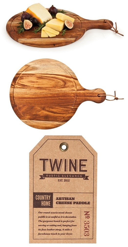 Country Home Collection Acacia-Wood Artisan Cheese Paddle by Twine