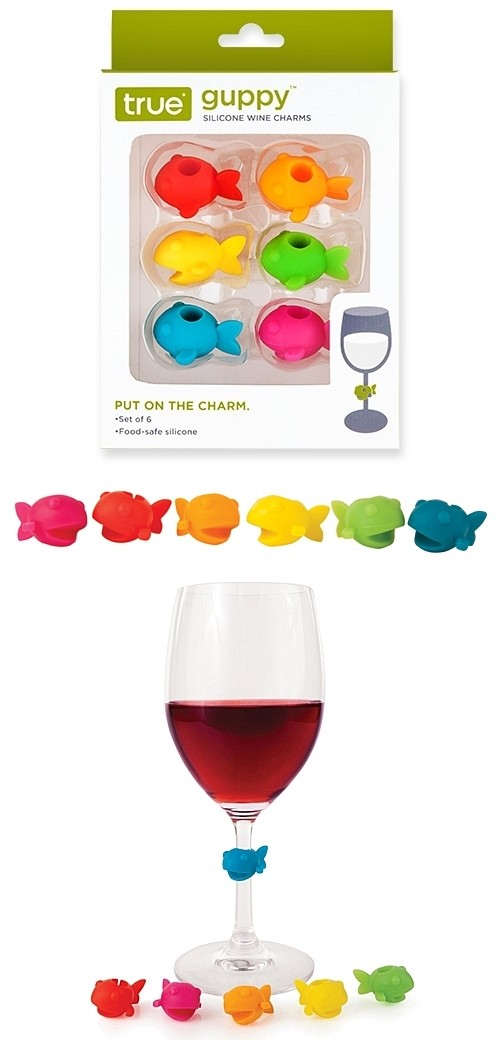 Guppy™: Colorful Silicone Wine Charms by True (Set of 6)