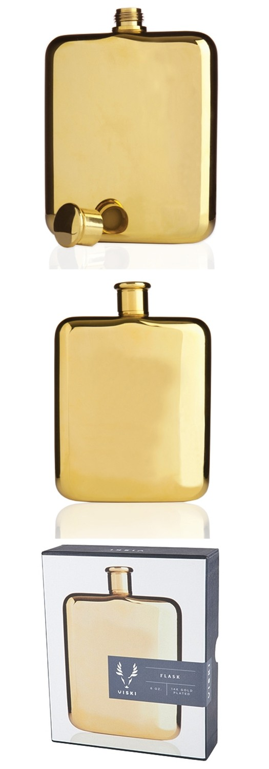 Belmont Collection 14k Gold-Plated Flask by VISKI