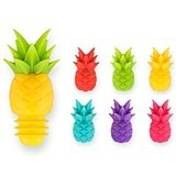 Tropic Collection Silicone Wine Charms and Bottle Stopper Set by True
