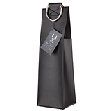 Admiral Faux Leather Black Wine Tote with Metal Handles by VISKI