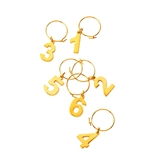 Belmont Gold-Plated Numbered Wine Charms by VISKI (Set of 6)