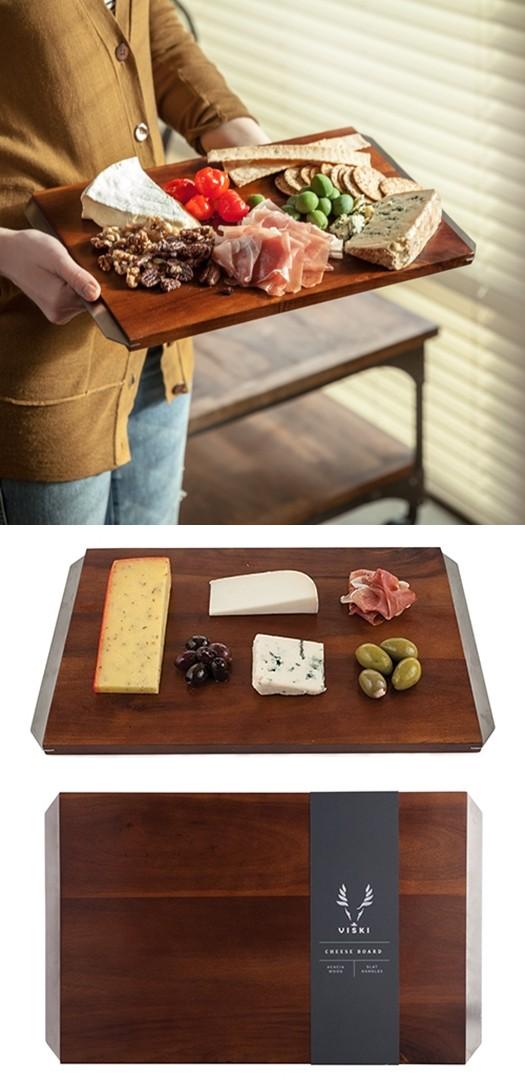 Admiral Acacia Wood Cheese Board w/ Stainless Steel Handles by VISKI