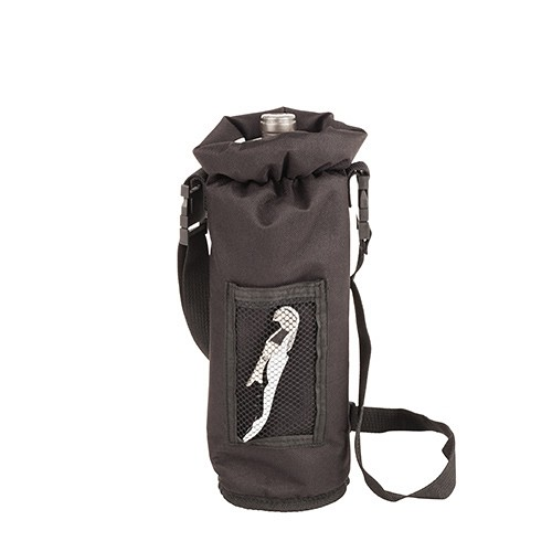 Black Grab & Go Insulated Bottle Carrier with Corkscrew by True