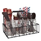 Country Home™ Patio Silverware Caddy with 6 Mason Jars by Twine