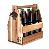 Acacia-Wood Beer Caddy with Built-in Bottle Opener by Foster & Rye