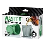 Wasted 2 oz Ceramic Shot Glasses by TrueZOO (Set of 2)
