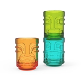 Tiki Trio Stacked Shot Glasses by TrueZOO (Set of 3 Assorted Colors)