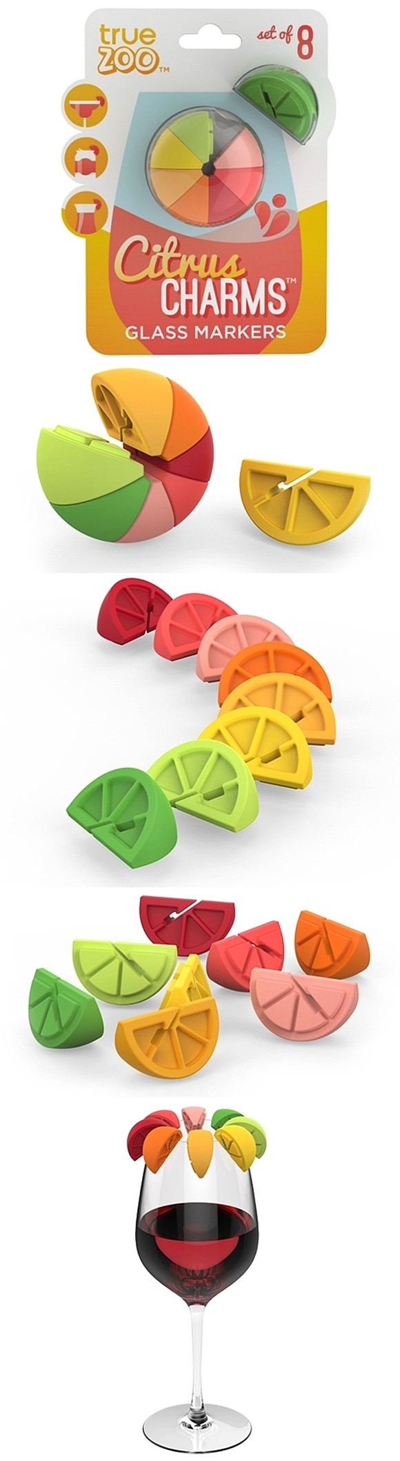 Citrus Charms Glass Markers by TrueZOO (Set of 8)