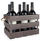 Rustic Farmhouse Fir-Wood 6-Bottle Carrier with Rope Handles by Twine