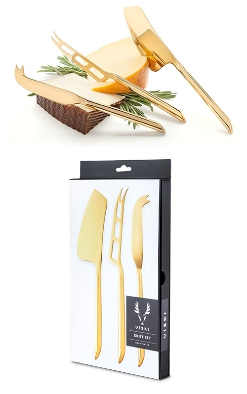 Belmont Gold-Plated Mirrored-Finish Cheese Knife Set by VISKI