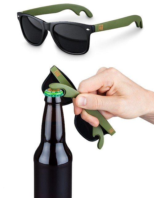 Green and Black Bottle Opener Sunglasses by Foster and Rye