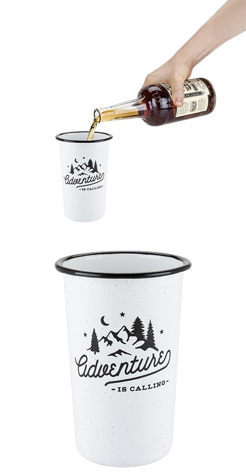 """Adventure"" Enamel-Coated Steel Pint Glass by Foster & Rye"