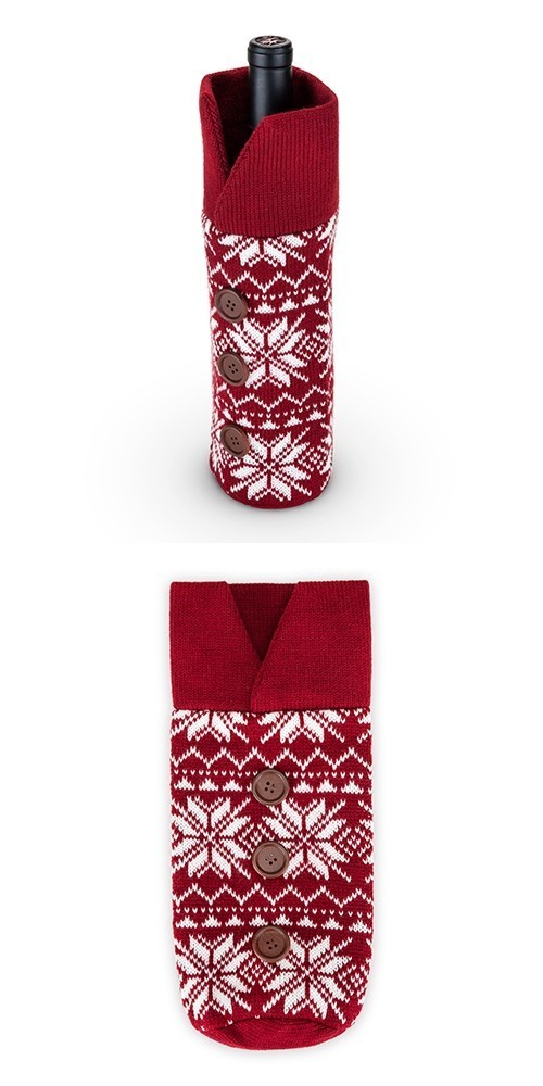 Rustic Holiday Snowflake Motif Red Wool Wine Sweater by Twine